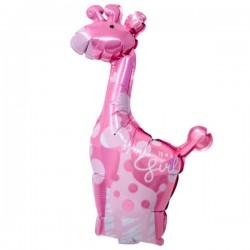 Folieballong Mini Giraff Rosa