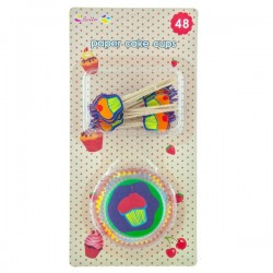 Cake Cups med Cake Picks - Multicolor cupcake